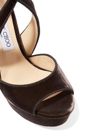 c82d5ffa1d2 ... JIMMY CHOO April 120 grosgrain-trimmed velvet platform sandals ...