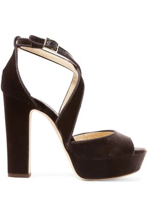 621211575b5 JIMMY CHOO April 120 grosgrain-trimmed velvet platform sandals
