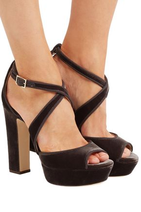 JIMMY CHOO April 120 grosgrain-trimmed velvet platform sandals