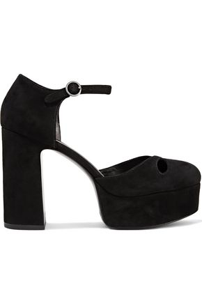 Woman Lucille Cutout Suede Platform Pumps Black