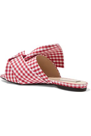 N°21 Knotted gingham canvas slides