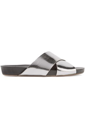 ATP ATELIER Doris metallic leather slides