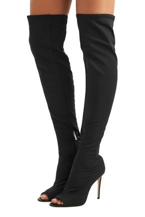 JIMMY CHOO Desai 95 leather-trimmed mesh over-the-knee boots