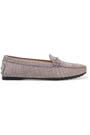 TOD'S Gommino embellished croc-effect suede loafers