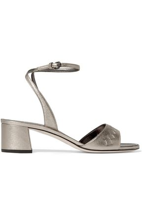 BOTTEGA VENETA Metallic intrecciato leather sandals