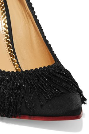 CHARLOTTE OLYMPIA Tip Toe fringed textured-satin pumps