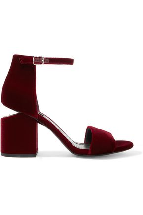 ALEXANDER WANG Abby leather-trimmed velvet sandals