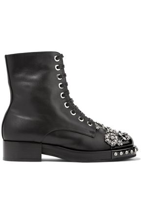 N° 21 Crystal-embellished smooth and patent-leather ankle boots