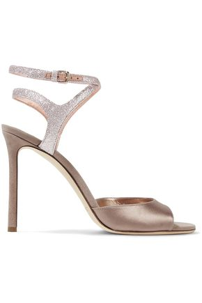 JIMMY CHOO Helen 100 satin, suede and glittered leather sandals