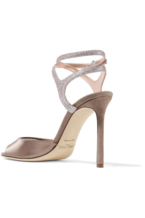 a951c0962268 Helen 100 glitter-trimmed satin and suede sandals