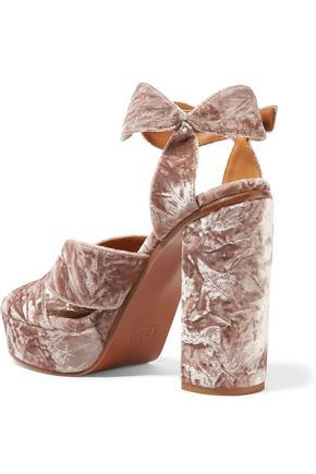 CHLOÉ Graphic Leaves crushed-velvet platform sandals