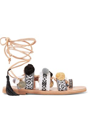 MABU by MARIA BK Freya lace-up embellished leather sandals