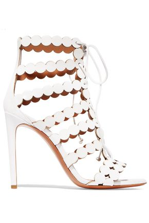 ALAÏA Lace-up laser-cut leather and suede sandals
