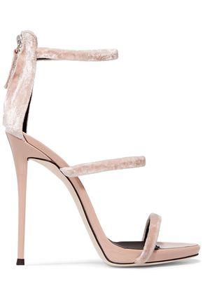 GIUSEPPE ZANOTTI Velvet and patent-leather sandals