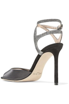 JIMMY CHOO Helen 100 glitter-trimmed satin and suede sandals