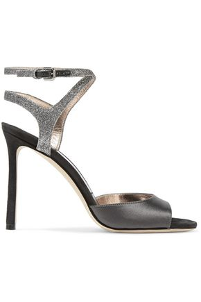 c708c7e32de JIMMY CHOO Helen 100 glitter-trimmed satin and suede sandals