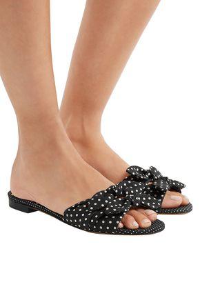 TABITHA SIMMONS Cleo bow-embellished polka-dot twill slides