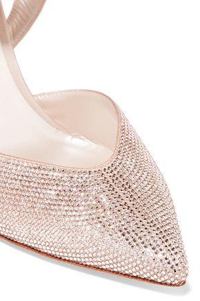 RENE' CAOVILLA Crystal-embellished satin pumps