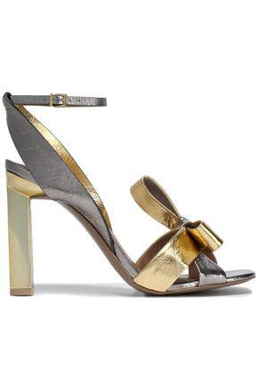 MERCEDES CASTILLO April satin bow-embellished velvet sandals