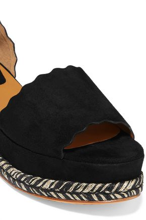 7a26fd094c0 Lauren scalloped suede platform espadrille sandals | CHLOÉ | Sale up ...