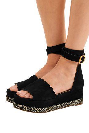 a8b9d63aee4 ... CHLOÉ Lauren scalloped suede platform espadrille sandals ...