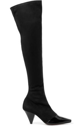 NEOUS Bumble suede and patent-leather over-the-knee boots