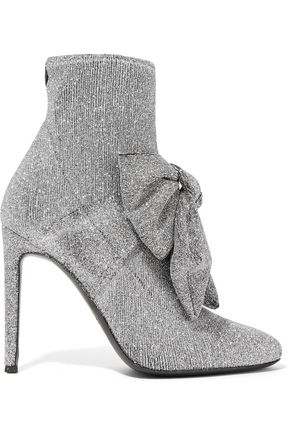 GIUSEPPE ZANOTTI Natalie bow-embellished glittered stretch-knit sock boots