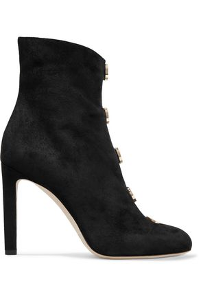JIMMY CHOO Button-detailed suede ankle boots
