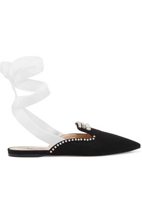 ATTICO Elena embellished velvet and canvas slippers