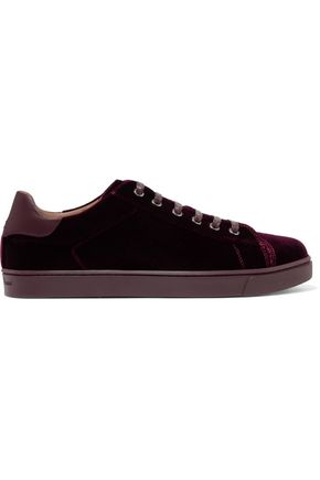 GIANVITO ROSSI Low Loft leather-trimmed velvet sneakers