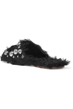 MIU MIU Studded shearling slippers