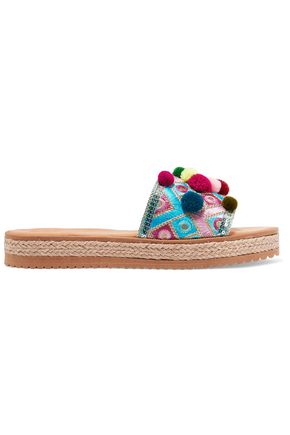 MABU by MARIA BK Violette embellished embroidered leather espadrille sandals