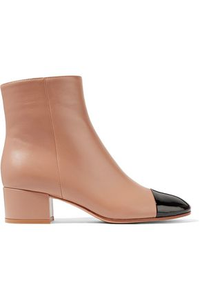 GIANVITO ROSSI 45 two-tone patent and smooth leather ankle boots
