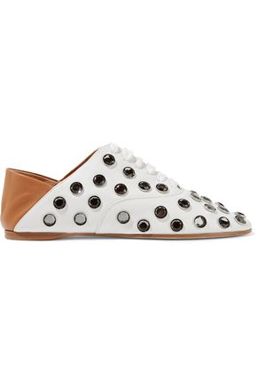 ACNE STUDIOS Mika crystal-embellished leather collapsible-heel slippers