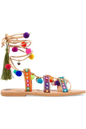 WOMAN IDA LACE-UP EMBELLISHED LEATHER SANDALS MULTICOLOR