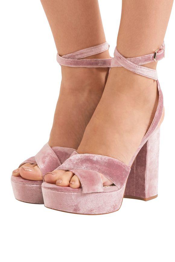 af1523a35760 Mara velvet platform sandals