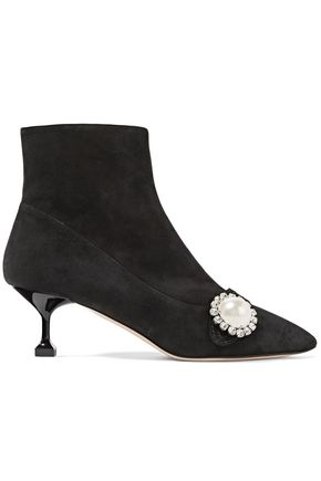 MIU MIU Faux pearl-embellished suede ankle boots