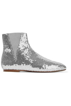 LOEWE Sequined metallic leather ankle boots