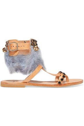 MABU by MARIA BK Aten feather-trimmed embellished leather sandals