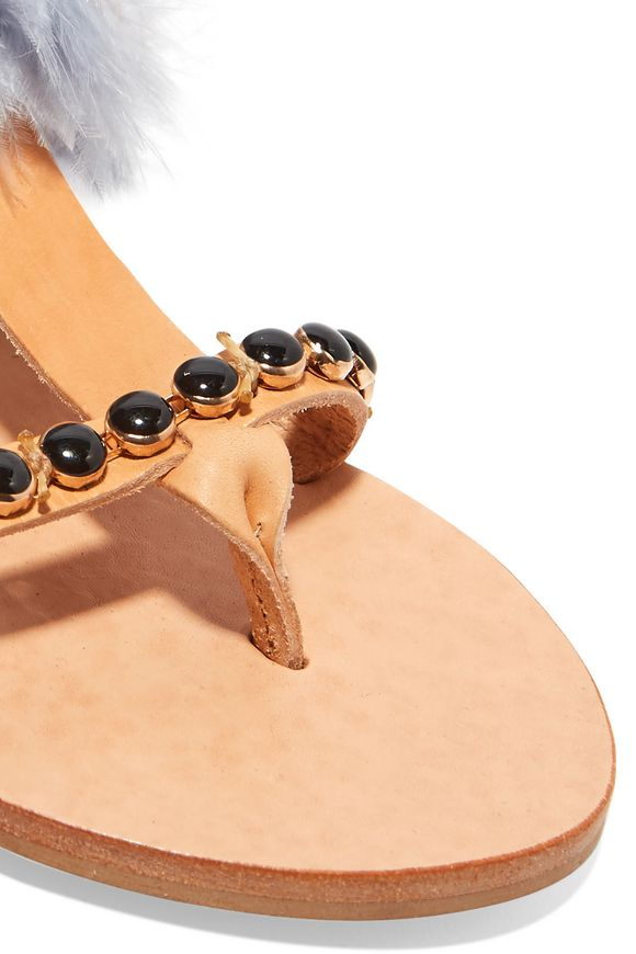 14705b4b03b2 Aten feather-trimmed embellished leather sandals