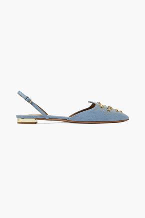 aa7047b8d032 AQUAZZURA Nairobi embellished denim point-toe flats