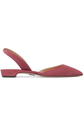 PAUL ANDREW Suede slingback point-toe flats