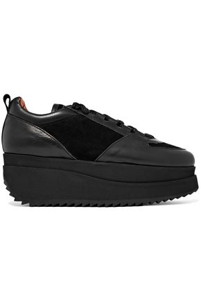 GANNI Naomi leather and suede platform sneakers