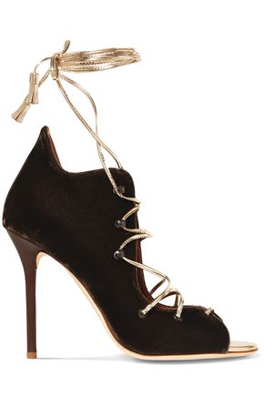 MALONE SOULIERS Savannah lace-up metallic leather-trimmed velvet sandals