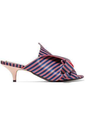 N°21 Knotted striped satin-twill mules