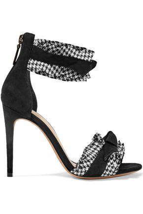 ALEXANDRE BIRMAN Houndstooth-trimmed bow-embellished suede sandals