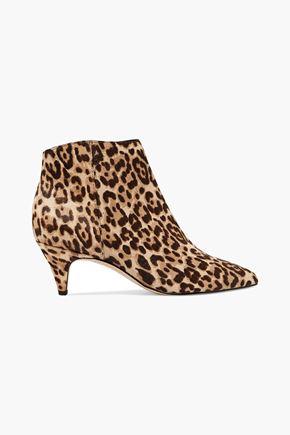SAM EDELMAN Leopard-print calf hair ankle boots