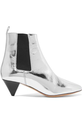 ISABEL MARANT Metallic leather ankle boots