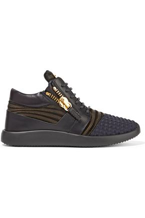 GIUSEPPE ZANOTTI Embellished textured shell and leather sneakers