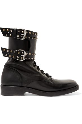 ISABEL MARANT Buckled studded leather ankle boots